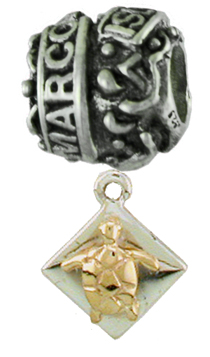 19216-Marco Island Story Bead with 14K and Sterling Turtle Dangle