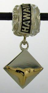 19145A-Hawaii Bead with Square Mixed Metal Whale Tail Dangle