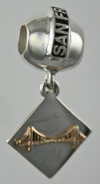 19210-San Francisco Bead with Square Mixed Metal Golden Gate Bridge Dangle
