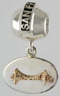 19289A-San francisco Bead with Oval Mixed Metal Golden Gate Bridge Dangle