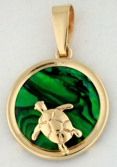 15751-Sea Turtle on Green Sea Opal