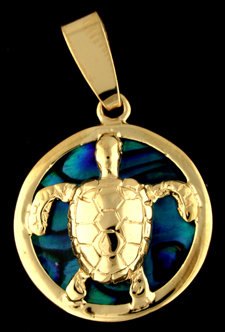 15852-Green Sea Turtle on Blue Sea Opal