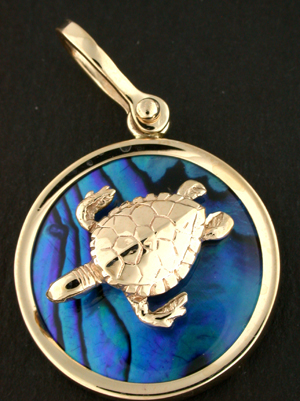 18292-Hawksbill Turtle on Blue Sea Opal