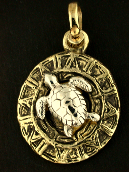 18606A-Sterling Green Sea Turtle on Bronze Sundial Disc.