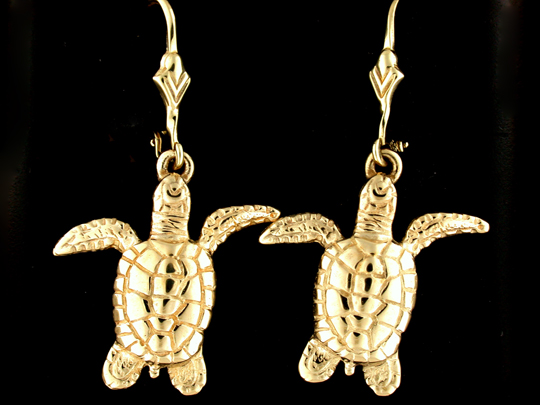 30596-Green Sea Turtle Leverback Earrings