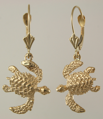 30679-Baby Green Sea Turtle on Leverback Earrings